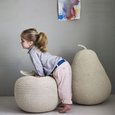 James' Giant Apple Pear Pouffe // wonderful for a nursery or kid's room // Cool Baby, Baby Love, Little People, Little Ones, Little Girls, Puff Gigante, Crochet Home, Kids Decor, Decor Ideas