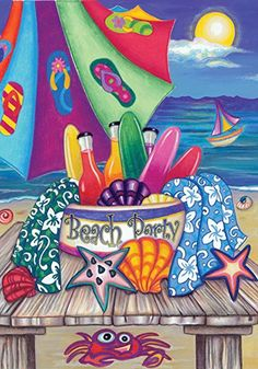 The Toland Home Garden Beach Party Flag is a celebration. The only thing missing from this gathering is you! This fanciful garden flag is fashioned. Merry Christmas Love, Evergreen Flags, Party Flags, Colorful Garden, Outdoor Art, Indoor Outdoor, House Flags, Flag Design, Paint Party