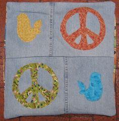 Denim Peace Pillow by destash4u on Etsy, $40.00