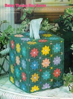 DAISY TISSUE BOX COVER PLASTIC CANVAS PATTERN ONLY FROM A MAGAZINE #PATTERNFROMAMAGAZINE