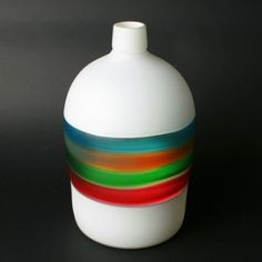 Shine Jug. Sandblasted in white multicolor by Orbix Hot Glass