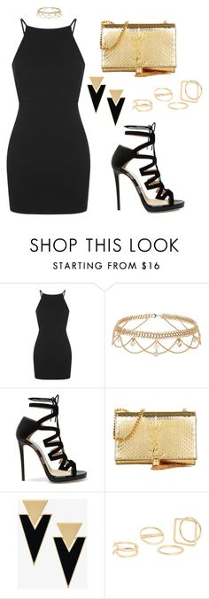 """""""Little black dress"""" by tania-alves ❤ liked on Polyvore featuring Topshop, Jimmy Choo, Yves Saint Laurent and MANGO"""