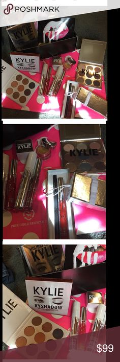 sale❤️Huge Kylie lip kit merry bundle new! The gold pot bronze pallet and Leo used only twice ! Everything else sealed new! Receipt in pic will separate Leo or bronze pallet and sell just the merry bundle cheaper if interested Kylie Cosmetics Makeup Lipstick