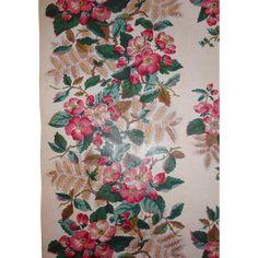 """Antique Floral glazed Chintz Fabric Border 2yd 17"""" x 25"""""""