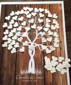 Wedding Tree guestbook Alternative with Adhesive Hearts from our Classic Wedding Collection.  Unique & Original Alternative to a Traditional Wedding Guest Book that will make a Very Special Wedding Gift! This design can be also personalized for any other occasion or event (Baby Shower, Birthday, Anniversary, Family Reunion & etc.)  *This tree is a reproduction of my original illustration that was modified on the computer to give the best customized look! Not printed on actual wood, but has…
