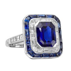Burmese Sapphire Diamond Panel Ring | From a unique collection of vintage cocktail rings at http://www.1stdibs.com/jewelry/rings/cocktail-rings/