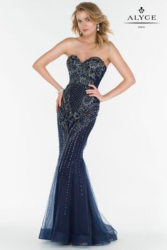 Alyce Paris Prom 2017 dresses | Dress Style 6750 | Full beaded tulle gown with a sweetheart neckline and a slight v back.