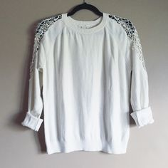 White forever 21 sweater Lightly worn, white forever 21 sweater with lace cutouts on sleeves. Very cute and can be dressed up or worn more casually. ❌ No trades please. Forever 21 Sweaters Crew & Scoop Necks
