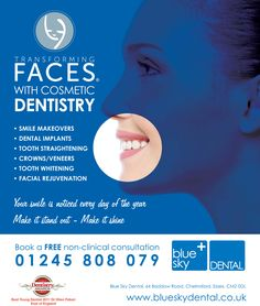 Cosmetic Dentistry advert designed for a specialist practice in Chelmsford. Design by www.designerdental.co.uk