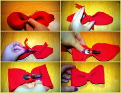 Simple steps to making a cute hair bow from a sweater.  http://mylifeonthedivide.blogspot.com/2012/03/upcycle-old-sweater.html