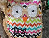 Owl jute porte cintre lumineux Chevron Mixte Motif médias Chevron personnalisé