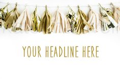 Gold Tissue Paper Tassel Party Banner / Stock Photography / Styled Background / Product Styling / High Res File #101
