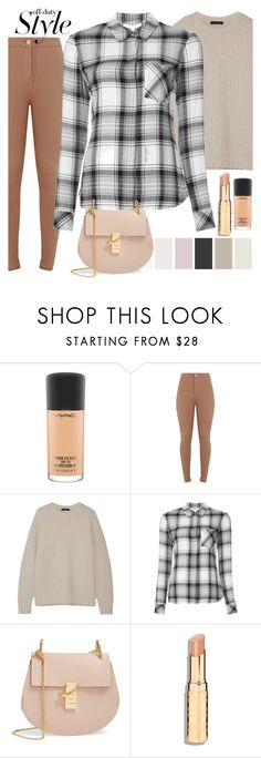 """plaid 3"" by styleability ❤ liked on Polyvore featuring MAC Cosmetics, The Row, Veronica Beard and Chloé"