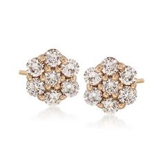 Ross-Simons - 1.00 ct. t.w. Diamond Flower Stud Earrings in 14kt Yellow Gold - #791527.   5/16 inch / 8mm in diameter. Closeout: $1,395.00 ($2,495.00)