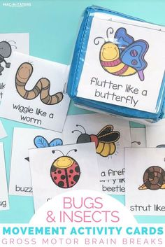 Bugs & Insects Movement Activity Cards are perfect for building and practicing gross motor skills for young children. These movement cards are the perfect brain break activity for preschoolers and kindergartners and is perfect for spring and summer. Insect Activities, Gross Motor Activities, Movement Activities, Gross Motor Skills, Preschool Activities, Physical Activities, Cabin Activities, Children Activities, Music Activities