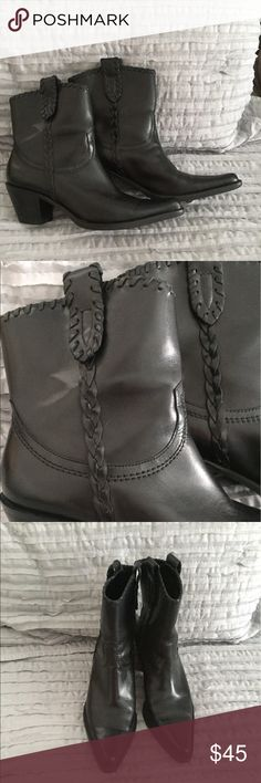 Franco Sarto black boots Short black western style boots with braided trim. Leather. Worn once Franco Sarto Shoes Ankle Boots & Booties