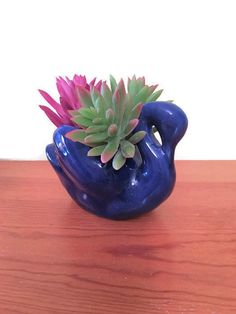 Blue Swan Planter Cottage Country Garden By WeeLambieVintage