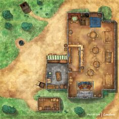 The Wicker Goat Tavern and Inn RPG Battle map, Ghosts of Saltmarsh. This tavern has 11 rooms for rent upstairs and a secret room under the stairs behind the broom closet! #battlemap #battlemaps #tavern #inn #d&d #pirate #rpg #saltmarsh #map #dungeons #dragons #pathfinder #limithron