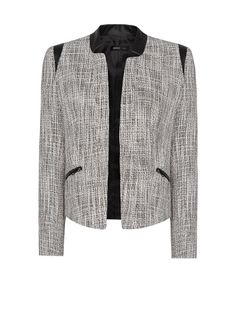 MANGO - Leather panels bouclé jacket