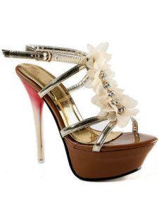 Golden PU Leather Flower Decoration Women's High Heel Dress Sandals