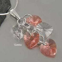 Beautiful Pendant with Swarovski Heart Crystals / GIFT for Her / Rose Peach and Crystal by TheBestEarrings, $25.00