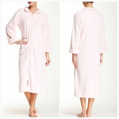 """Zip Down Needle Out Trim Robe Spread collar, long sleeves, front zip closure, 2 front slash pockets, topstretch detail, approx. 49"""" length. Machine wash cold, 100% polyester. Casual Moments Intimates & Sleepwear Robes"""