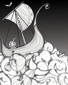 """Night Diving"" Print 8x10  #deep sea #navy diver | Super cute stylized diver"