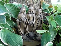 My Triple Goddess Statue produced by Sacred Source in my magical garden. Maiden Mother Crone, Mother Goddess, Triple Goddess, Moon Goddess, Magick, Witchcraft, Wiccan Witch, Pagan Art, Mystique