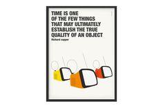Poster grafico stampato con arredi vintage - soggetto Richard Sapper di Laboratoriografico su Etsy