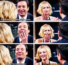 Jennifer Lawrence and Jimmy Fallon. Literally some of the funniest people ever. :D