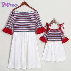 da365134c Mom Girl Stripes Trumpet Sleeve Matching Dress#mommyandmeoutfits  #mommyandmeclothing #mommyandmematchingoutfits #mommyandmematchingclothes #