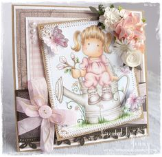 Jenny's Craft Corner.  Tilda with Magnolia Branch masked onto Watering Can.  Tilda stamp is from Summer Memories Collection, Magnolia Stamps
