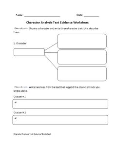 Persuasive Text Worksheets Pdf Static Or Dynamic Character Analysis Worksheet  Englishlinxcom  Create Worksheet Vba Excel with Measurement Worksheet Pdf This Character Analysis Worksheet Directs The Student To Write Three  Character Traits That Describe A Chosen Character Paraphrasing Worksheets For Middle School Excel