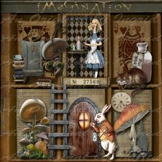 Letterbak - Wandbord - Vitrinekast *Shadow Box - Configuration Box ~Thema: Alice in Wonderland~