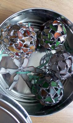 Set of 5 pieces of Christmas tree decorations: 4 sea glass