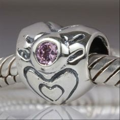 Love Heart with Pink CZ Authentic 925 Sterling Silver Core Beads