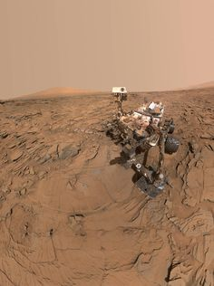 "This selfie of NASA's Curiosity Mars rover shows the vehicle at a drilled sample site called ""Okoruso."""