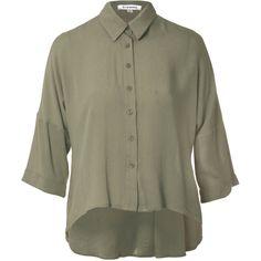 Khaki Textured Blouse ($33) ❤ liked on Polyvore