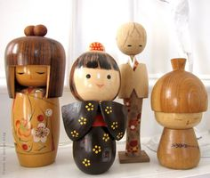 Collection of vintage Kokeshi dolls from French by Design.