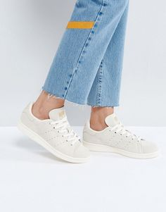 adidas Originals Off White Suede Stan Smith Sneakers - White