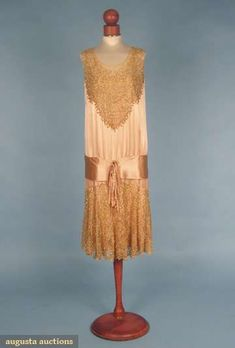 Pale pink silk charmeuse with beaded lace insert and skirt, silk satin sash, and silk chiffon slip, c. mid-1920's.
