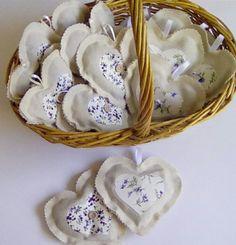 Lavender heart sachets,cream cotton fabric lavender bags,applique,clothes…