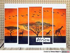 African sunset card by Teresa Abajo using Darkroom Door African Trees Rubber Stamp Set