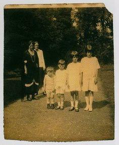"Grand Duchess Xenia, her daughter Irina and Xenia's grandchildren- (right to left) Irina ""Bébé"" Yussuppova, Xenia, Michael and Fyodor"