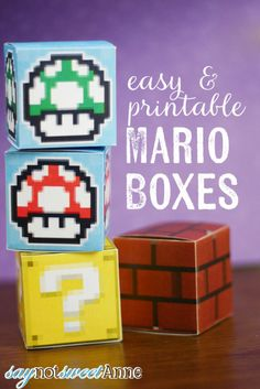 Easy Printable Mario Boxes - great for decor, gifts or play! I'm an old school geek who LOVES Mario. Stop by saynotsweetanne.com for more printables, DIY and Crafts!