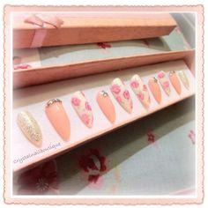 pink rose nails, press on nails, Swarovski crystals, stilletto nails, pink nails, flower nails, glitter nails, false nails, press on nails