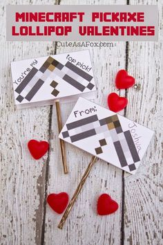 Minecraft Pickaxe Printable Lollipop Valentines - #Minecraft #ValentinesDay #Valentines