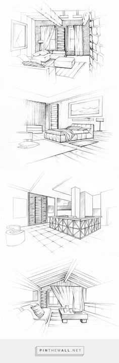 Interior Architecture Drawing, Interior Design Renderings, Architecture Sketchbook, Interior Sketch, Architecture Design, Perspective Sketch, Point Perspective, Sketch Design, Drawing Techniques