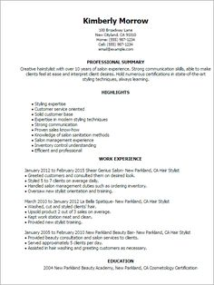 How To Write A Resume For A Hair Stylist  Ehow  Resume
