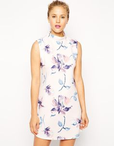 ASOS Shift Dress with High Neck in Watercolour Floral Print http://asos.to/1oIOjLh